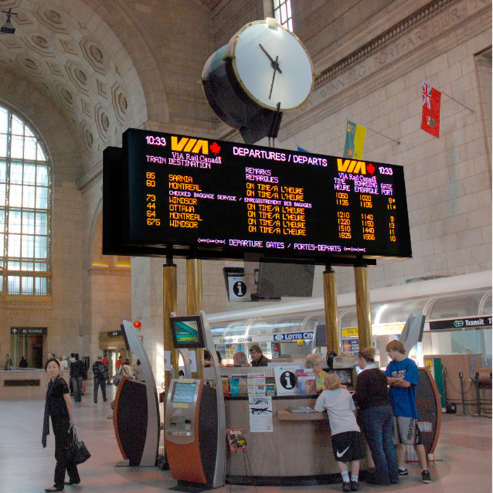 image of LED Display of departure schedule at VIA Train station in Toronto, Canada